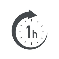 One hour round icon with arrow. Black and white vector symbol.