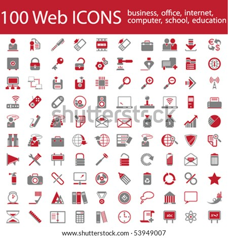 One hundred different highly detailed vector Icons for Web Applications. Business, Office, Internet, School and Education.