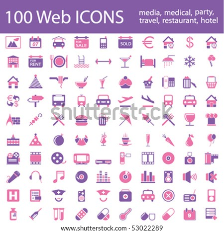 One hundred different highly detailed vector Icons for Web Applications. Media, Medical, Party, Hotel and Travel.