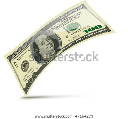One hundred dollars. Vector illustration isolated on white background