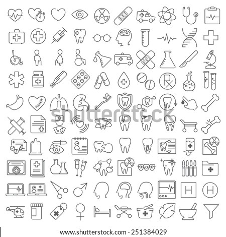 One hundred ector medicine thin line icons set