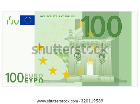 One hundred euro banknote on a white background.