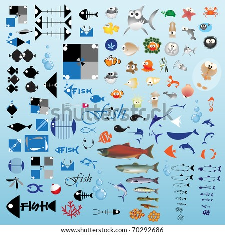 One hundred fish icon - Part 1 (Vector)