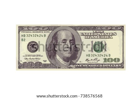 one hundred highly detailed dollar banknote. Vector Illustration