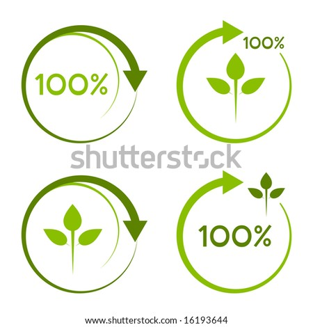 One hundred percent recyclable logo. - stock vector
