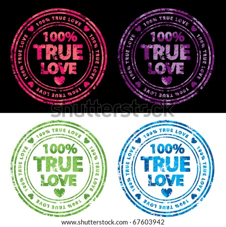 One hundred percent true love vector stamp