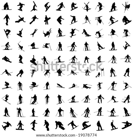 One hundred silhouette of skiers. Downhill racing, a snowboard, children and teenagers in movement.