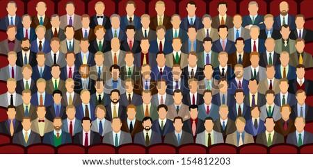 one hundred sitting businessman