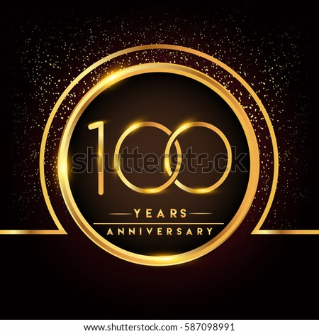 one hundred years birthday celebration logotype. 100th anniversary logo with confetti and golden ring isolated on black background, vector design for greeting card and invitation card.