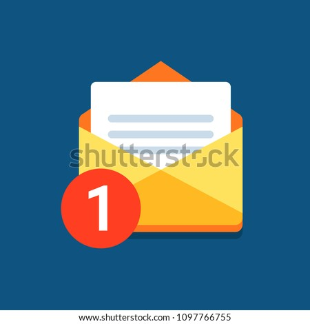One incoming message, open message icon, notification. Vector, isolated