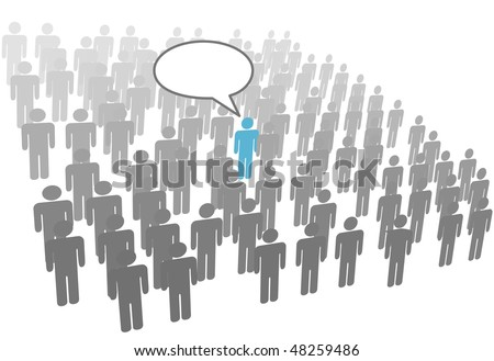 One individual person talk in crowd social network group or company.