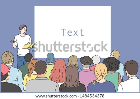 One is speaking in front of a large audience. hand drawn style vector design illustrations.