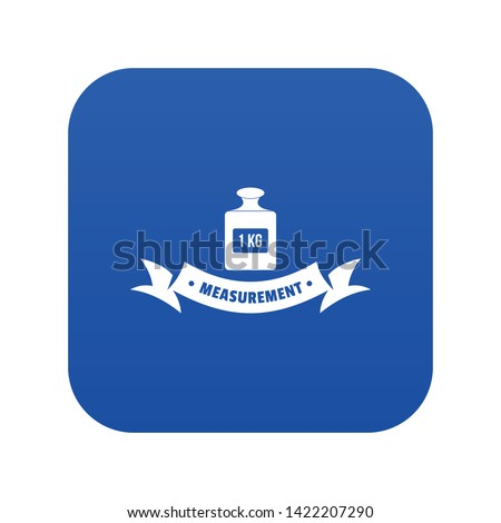 One kg icon blue vector isolated on white background