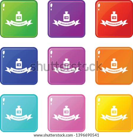 One kg icons set 9 color collection isolated on white for any design