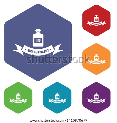 One kg icons vector colorful hexahedron set collection isolated on white