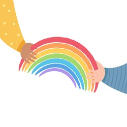 One kid passes rainbow to another. Friendship and support concept. Rainbow as symbol of hope and compassion. Stay at home, quarantine for coronavirus prevention.Vector illustration on white background