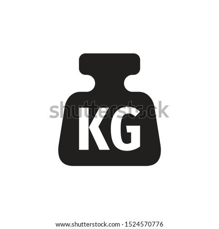 One kilogram weight black icon design. 1 kg sign. Vector illustration.