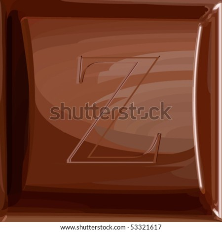 One letter of chocolate alphabet. Fills only. Chocolate chunk and letter are in separate layers. Can be used as seamless pattern (swatch without letter included).
