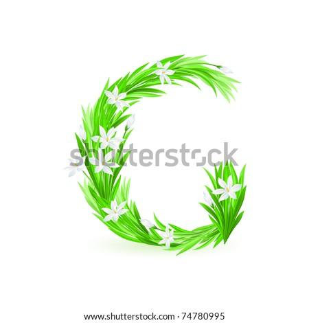 One letter of spring flowers alphabet - G. Illustration on white background