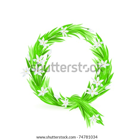 One letter of spring flowers alphabet - Q. Illustration on white background
