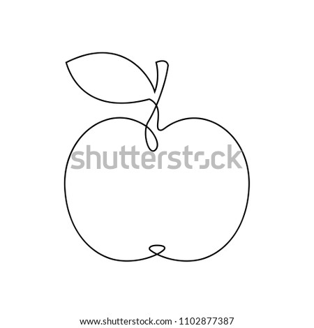 One line apple design. Hand drawn minimalism style vector illustration isolated on white background.