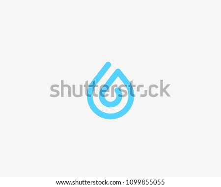 One line aqua logotype. Water drop vector logo symbol.