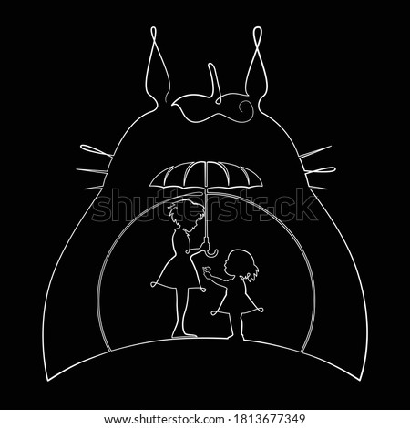 one line art  totoro mei and