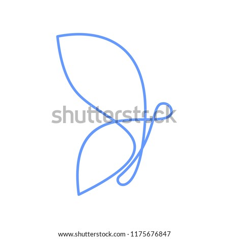 one line butterfly logo design