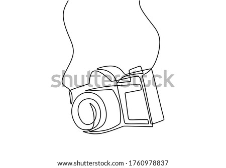 One line camera design. DSLR camera digital vector with single continuous line drawing minimalism linear style. Photography equipment concept isolated on white background vector design illustration