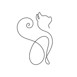 One line cat design silhouette.hand drawn minimalism style vector illustration