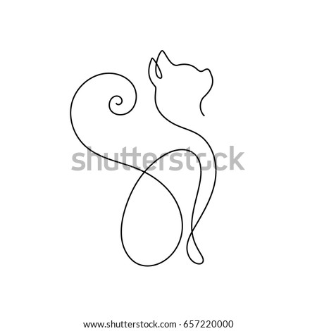 one line cat design silhouette
