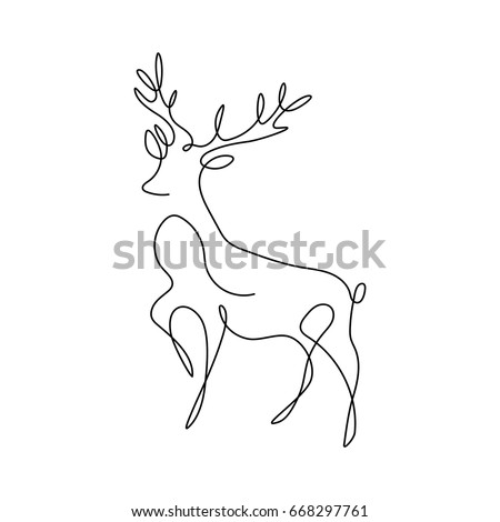 One line design silhouette of deer.hand drawn minimalism style.vector illustration
