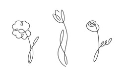 One line design silhouette of flowers.vector illustration