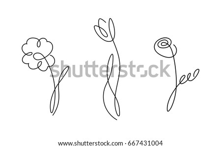 One line design silhouette of flowers.vector illustration #667431004