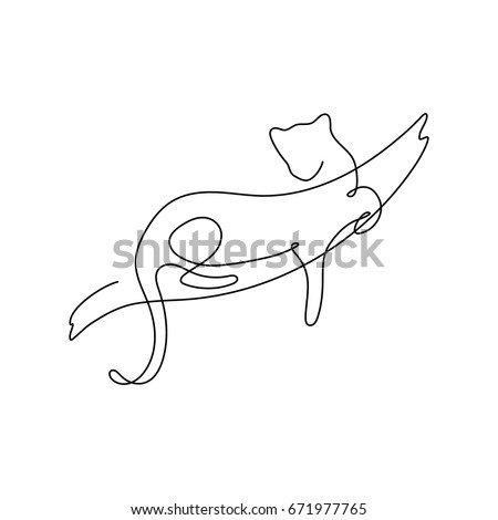Stock Photo One line design silhouette of leopard,panther on the tree.hand drawn minimalism style.vector illustration