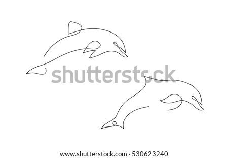 one line dolphin design