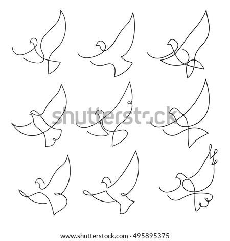 one line dove flies design