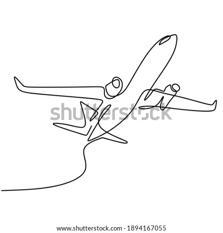 One line drawing a plane. The passenger plane flight in the sky isolated on white background. Business and tourism, airplane travel concept. Vector aircraft illustration in minimalist design