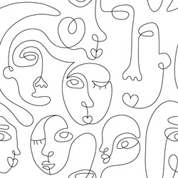 One line drawing abstract face seamless pattern. Modern minimalism art, aesthetic contour. Continuous line background with woman and man faces. Vector group of people