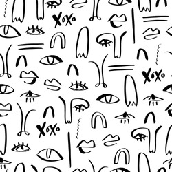 One line drawing abstract faces seamless pattern. Modern aesthetic print, minimalism, contour line art. Continuous with people faces. Vector illustration.