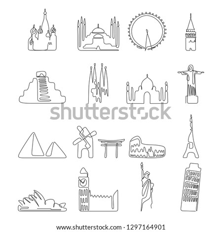 One line drawing famous landmarks of the world