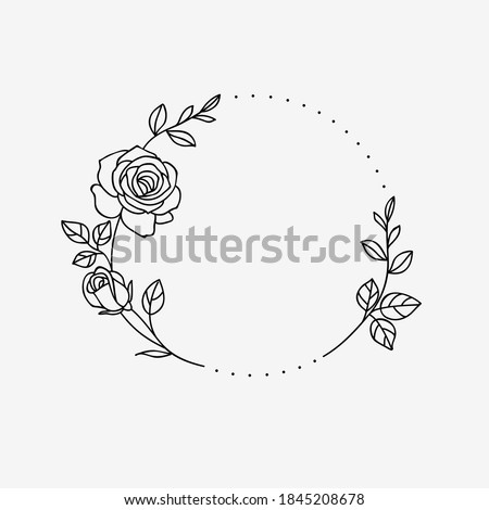 One line drawing. Frame of garden rose with stem and leaves. Hand drawn sketch. Vector illustration.