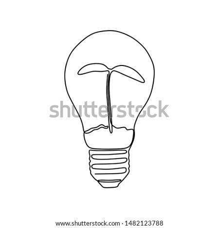 one line drawing light bulb