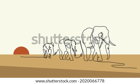 one line drawing of a elephants