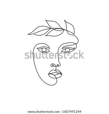One Line drawing of beauty woman face with leaves. Continuous line. Head in a laurel wreath. Abstract minimal face. Vector illustration. Logo for organic cosmetics, beauty salon, spa
