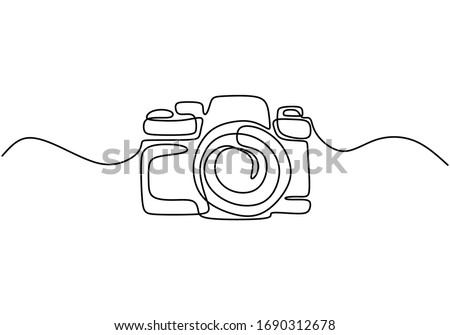 one line drawing of camera