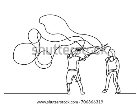 one line drawing of couple making soap bubbles