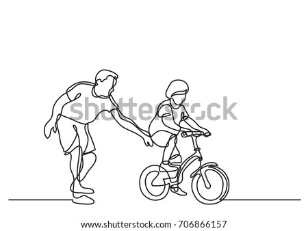 one line drawing of father helping child to drive bicycle