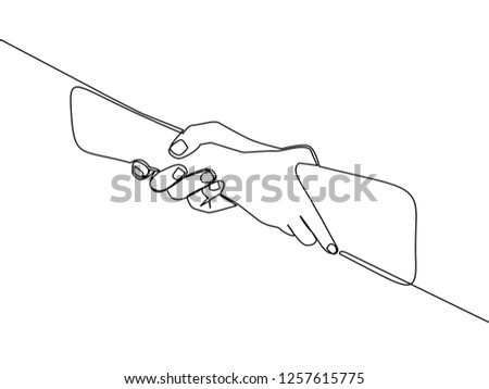 One line drawing of hand helping other hand to show solidarity gesture. Continuous line drawing of deal business concept. Vector illustration design