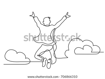 one line drawing of happy man jumping higher clouds